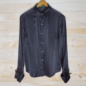 Ralph Lauren Blouse Silk Pearl Closure Button